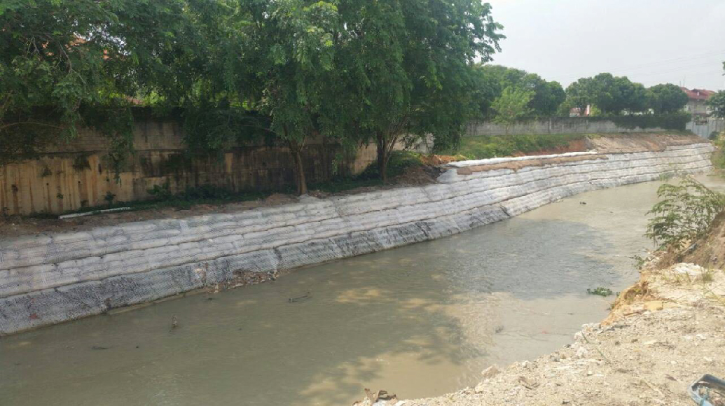 River improvement works Non-woven geotextile sand container system Combination geogrids Softrock
